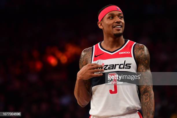 Bradley Beal of the Washington Wizards smiles during a timeout during the fourth quarter of the game against New York Knicks at Madison Square Garden...