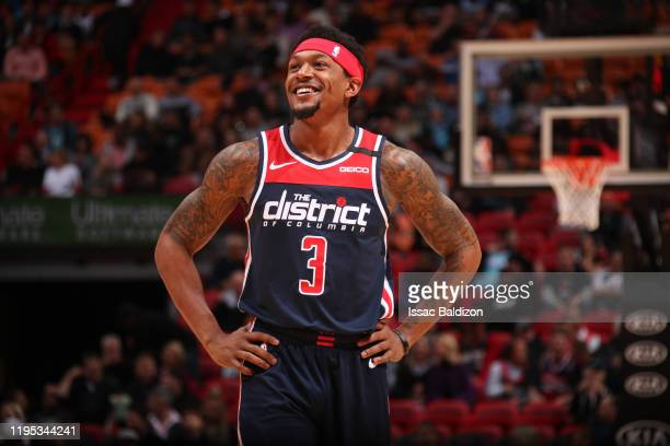Bradley Beal of the Washington Wizards smiles during the game against the Miami Heat on January 22 2020 at American Airlines Arena in Miami Florida...