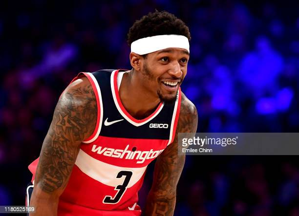 Bradley Beal of the Washington Wizards smiles during the second quarter of their game against the New York Knicks at Madison Square Garden on October...