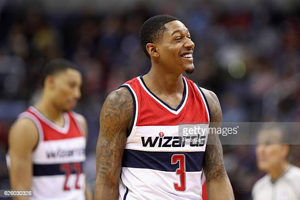 Bradley Beal of the Washington Wizards smiles in the second half against the San Antonio Spurs at Verizon Center on November 26 2016 in Washington DC...