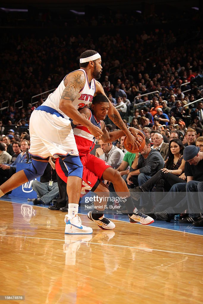Bradley Beal #3 of the Washington Wizards tries to drives to the basket around Rasheed Wallace #36 of the New York Knicks on November 30 2012 at Madison Square Garden in New York City.