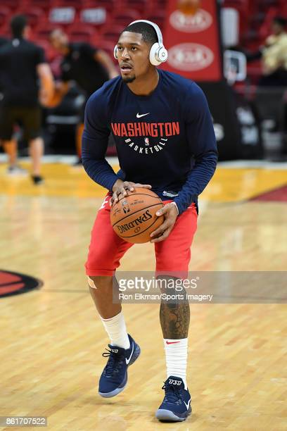 Bradley Beal of the Washington Wizards warms up before a preseason game against the Miami Heat at American Airlines Arena on October 11 2017 in Miami...
