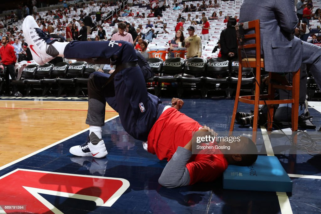 Bradley Beal #3 of the Washington Wizards warms up before the Eastern Conference Quarterfinals game against the Atlanta Hawks during the 2017 NBA Playoffs on April 16, 2017 at Verizon Center in Washington, DC.
