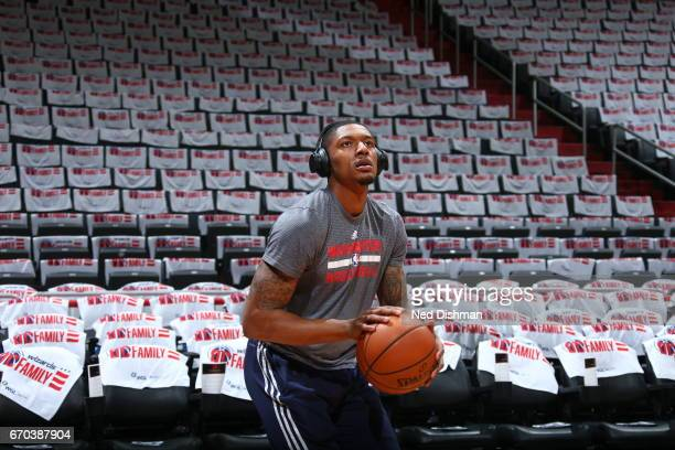 Bradley Beal of the Washington Wizards warms up before the game against the Atlanta Hawks during the Eastern Conference Quarterfinals of the 2017 NBA...