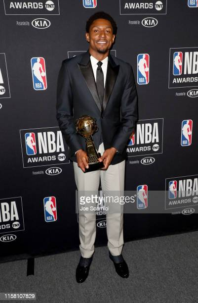 Bradley Beal, winner of the NBA Cares Community Assist Award presented by Kaiser Permanente, poses in the press room during the 2019 NBA Awards...
