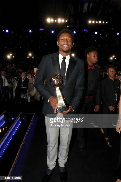 Bradley Beal, winner of the NBA Cares Community Assist Award presented by Kaiser Permanente, is seen during the 2019 NBA Awards presented by Kia on...