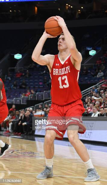Bradley Braves forward Luuk van Bree puts up a shot during a Missouri Valley Conference Basketball Tournament game between the Missouri State Bears...