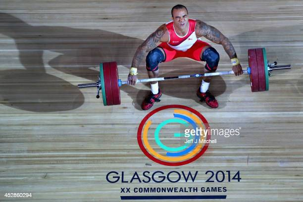 Bradley Burrowes of England of competes in the mens 85kg weightlifting at the Clyde Auditorium during day five of the Glasgow 2014 Commonwealth Games...