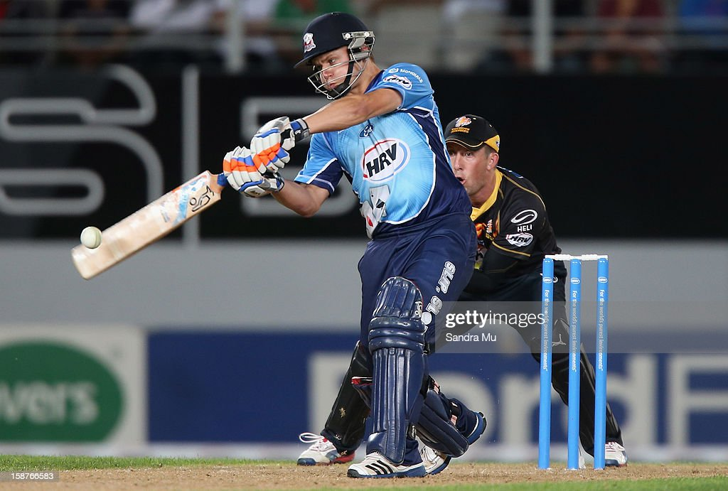 Bradley Cachopa of Auckland hits a six during the HRV Cup Twenty20 match between the Auckland Aces and Wellington Firebirds at Eden Park on December 28, 2012 in Auckland, New Zealand.