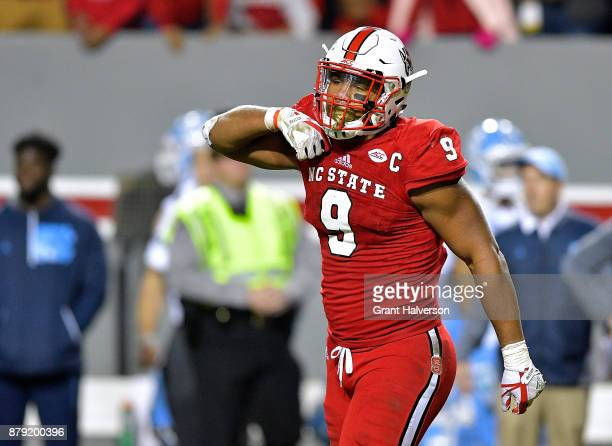 Bradley Chubb of the North Carolina State Wolfpack reacts after a win against the North Carolina Tar Heels during their game at Carter Finley Stadium...
