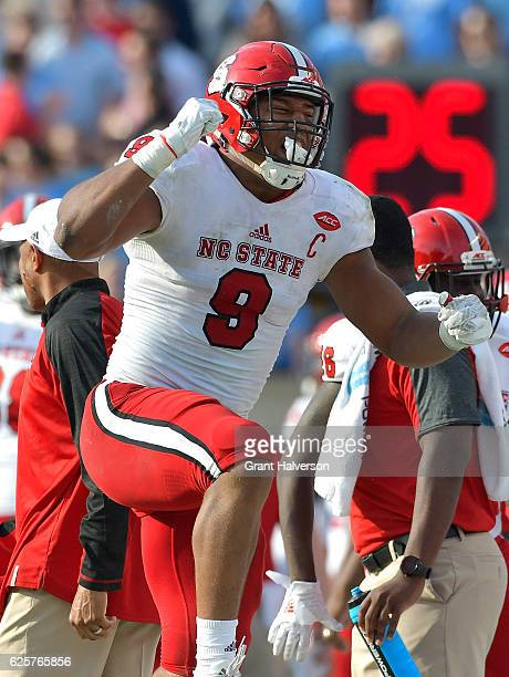 Bradley Chubb of the North Carolina State Wolfpack reacts during their game against the North Carolina Tar Heels at Kenan Stadium on November 25 2016...