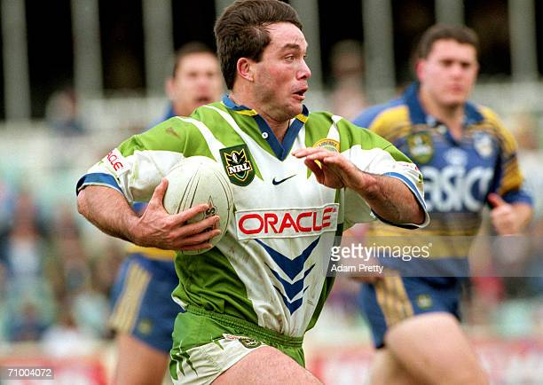 Bradley Clyde of the Raiders makes a break during a NRL match between the Parramatta Eels and the Canberra Raiders at Parramatta Stadium 1998 in...