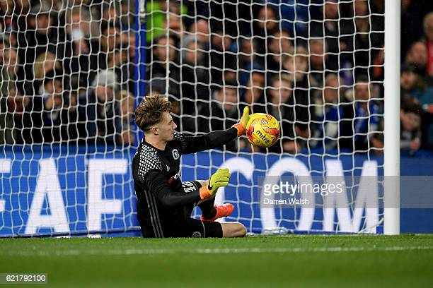 Bradley Collins of Chelsea saves the last penalty during a Checkatrade Trophy match between Chelsea and Oxford United at Stamford Bridge on November...
