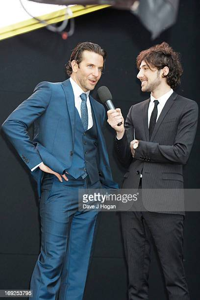 Bradley Cooper and Alex Zane attend the European Premiere of 'The Hangover Part III' at The Empire Leicester Square on May 22 2013 in London England