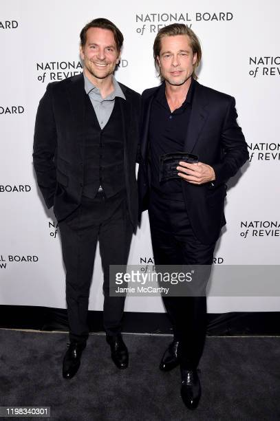 Bradley Cooper and Brad Pitt attend The National Board of Review Annual Awards Gala at Cipriani 42nd Street on January 08, 2020 in New York City.