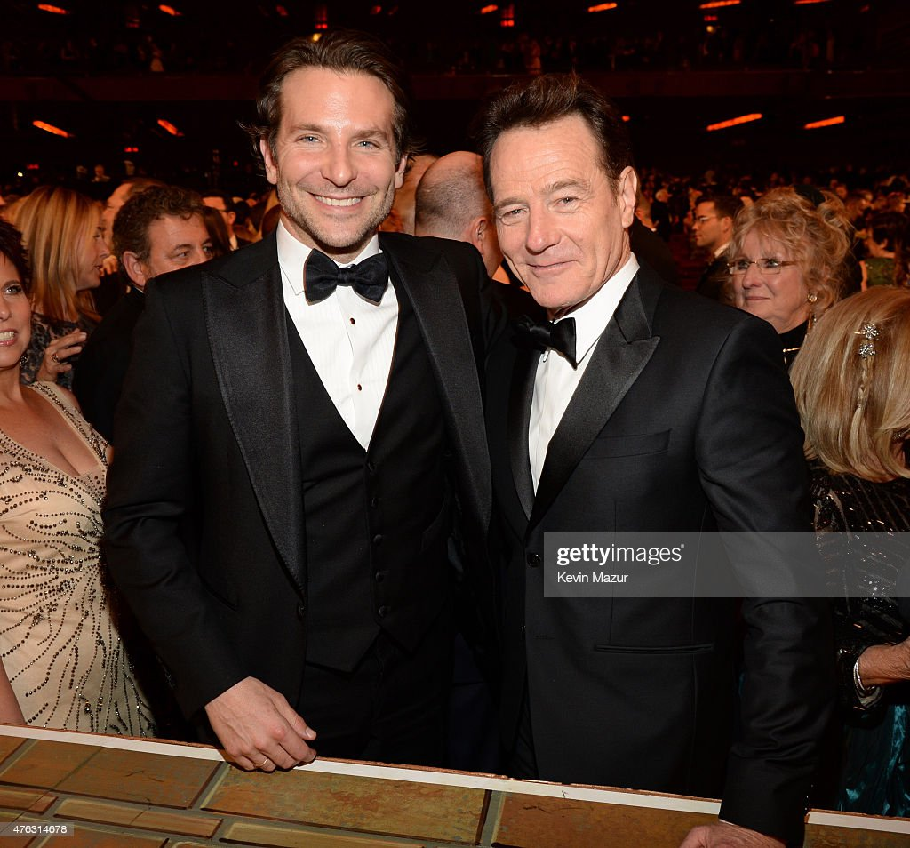 Bradley Cooper and Bryan Cranston attend the 2015 Tony Awards at Radio City Music Hall on June 7, 2015 in New York City.