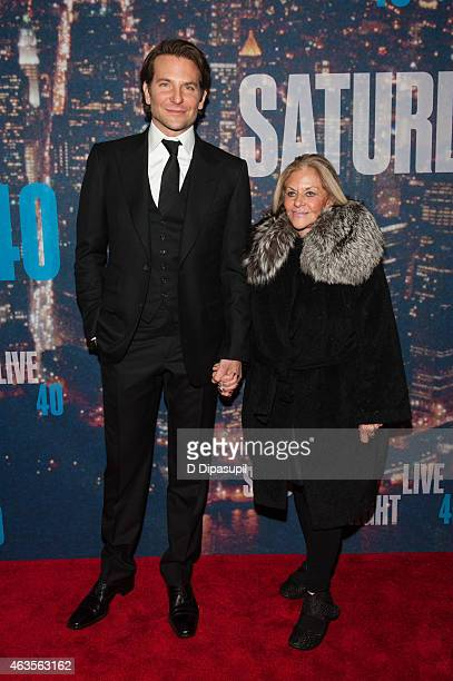 Bradley Cooper and Gloria Campano attend the SNL 40th Anniversary Celebration at Rockefeller Plaza on February 15 2015 in New York City