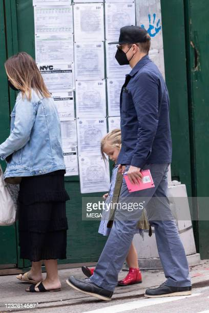 Bradley Cooper and his daughter Lea Cooper are seen on April 30, 2021 in New York City.