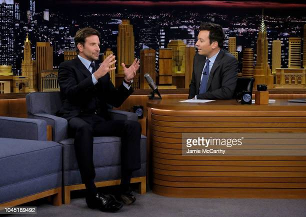 Bradley Cooper and host Jimmy Fallon during a segment on The Tonight Show Starring Jimmy Fallon at Rockefeller Center on October 3 2018 in New York...