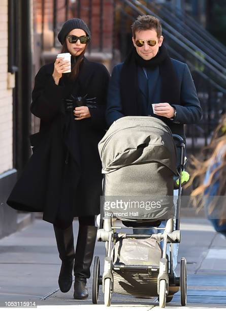 Bradley Cooper and Irina Shayk are seen walking in soho on October 24, 2018 in New York City.