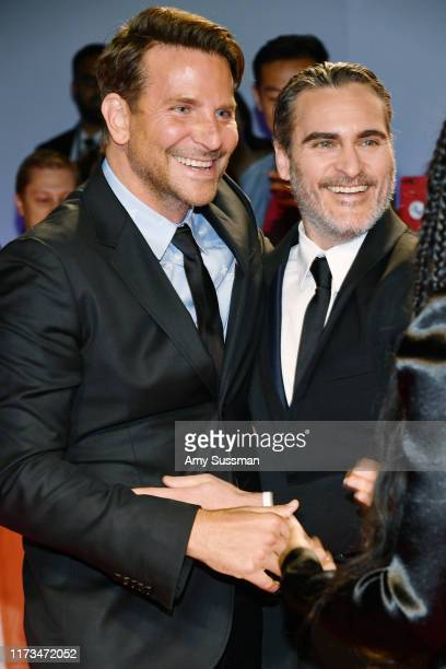 Bradley Cooper and Joaquin Phoenix attend the Joker premiere during the 2019 Toronto International Film Festival at Roy Thomson Hall on September 09...