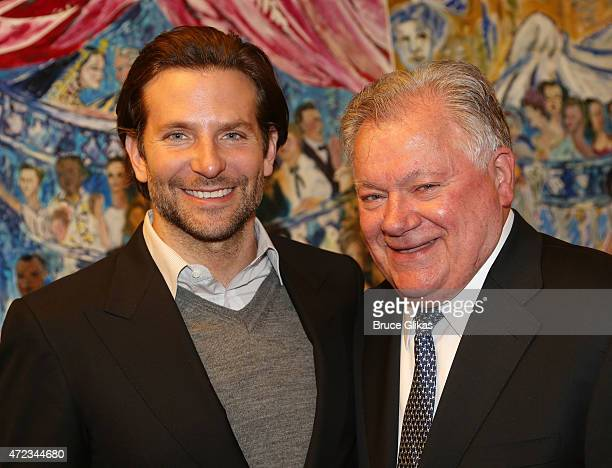 Bradley Cooper and Shubert Organization President Robert Wankel pose as Cooper gets honored with a Sardi's Caricature in honor of his performance as...