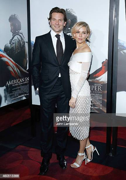 Bradley Cooper and Sienna Miller attend 'American Sniper' New York Premiere at Frederick P Rose Hall Jazz at Lincoln Center on December 15 2014 in...