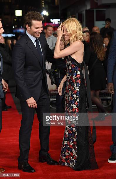 Bradley Cooper and Sienna Miller attend the UK Film Premiere of 'Burnt' at Vue West End on October 28, 2015 in London, England.
