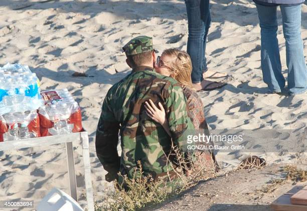 Bradley Cooper and Suki Waterhouse are seen on the set of 'American Sniper' in Malibu California on June 04 2014 in Los Angeles California