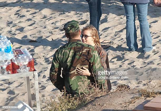 Bradley Cooper and Suki Waterhouse are seen on the set of 'American Sniper' in Malibu California on June 04 2014 in Los Angeles California