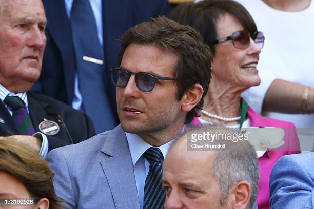 Bradley Cooper attends the Gentlemen's Singles Final match between Andy Murray of Great Britain and Novak Djokovic of Serbia on day thirteen of the...