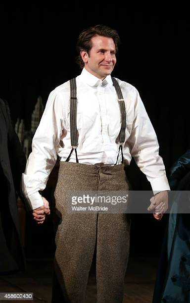 Bradley Cooper during the Curtain Call for the first Broadway preview performance of 'The Elephant Man' at The Booth Theatre on November 7, 2014 in...