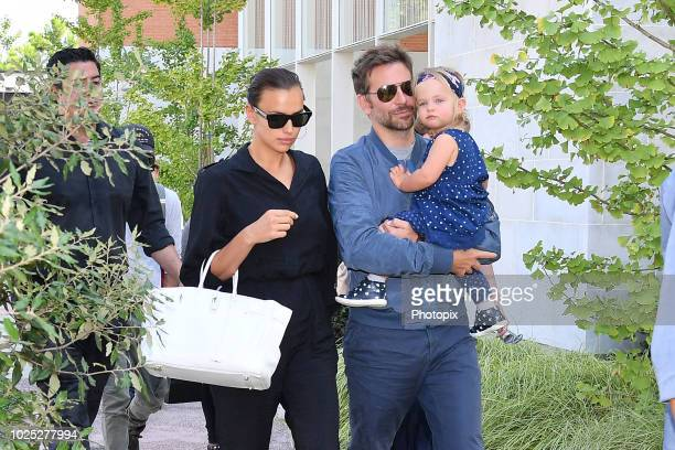 Bradley Cooper, Irina Shayk and their daughter Lea are seen arriving at the 75th Venice Film Festival on August 30, 2018 in Venice, Italy.
