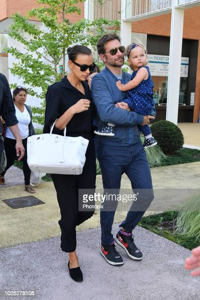 Bradley Cooper Irina Shayk and their daughter Lea are seen arriving at the 75th Venice Film Festival on August 30 2018 in Venice Italy