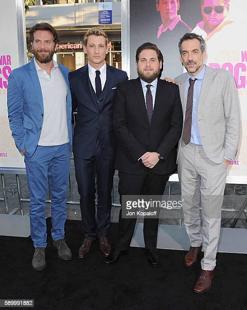 """Bradley Cooper, Miles Teller, Jonah Hill and Todd Phillips arrive at the Los Angeles Premiere """"War Dogs"""" at TCL Chinese Theatre on August 15, 2016 in..."""
