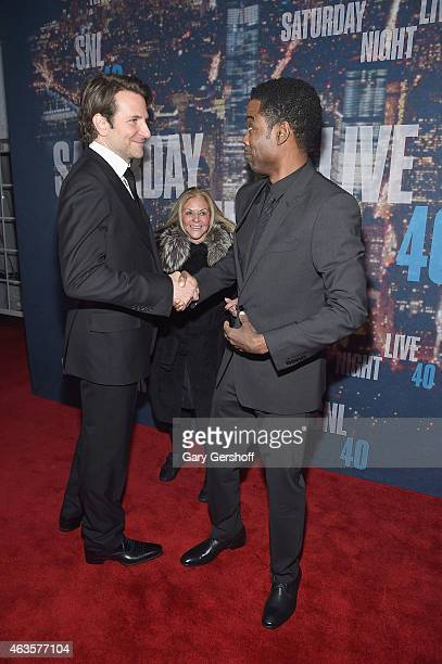 Bradley Cooper mother of Bradley Cooper Gloria Campano and Chris Rock attend the SNL 40th Anniversary Celebration at Rockefeller Plaza on February 15...
