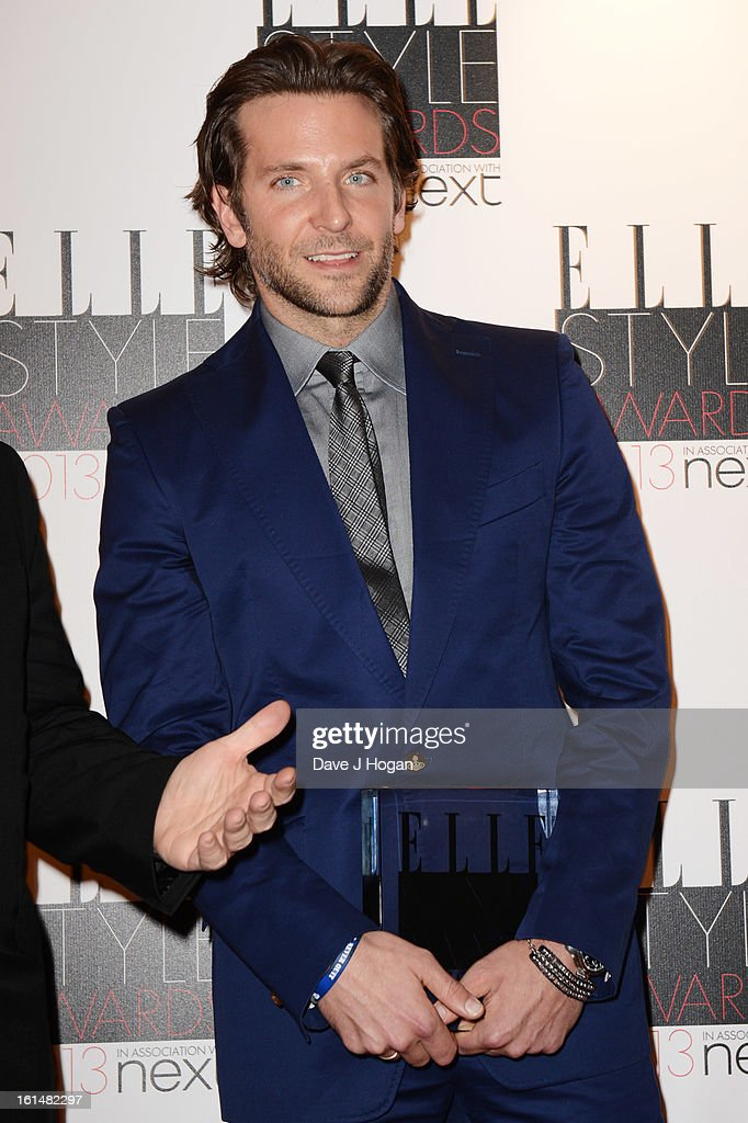 Bradley Cooper poses with his Best Actor Award in the press room at The Elle Style Awards 2013 at The Savoy Hotel on February 11, 2013 in London, England.