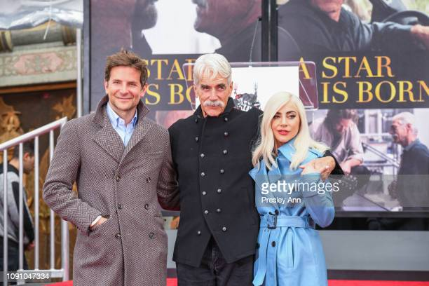Bradley Cooper Sam Elliott and Lady Gaga attend Sam Elliott's hand and footprint ceremony at TCL Chinese Theatre on January 07 2019 in Hollywood...