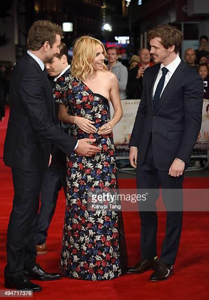Bradley Cooper, Sienna Miller and Sam Keeley attend the UK Film Premiere of 'Burnt' at Vue West End on October 28, 2015 in London, England.