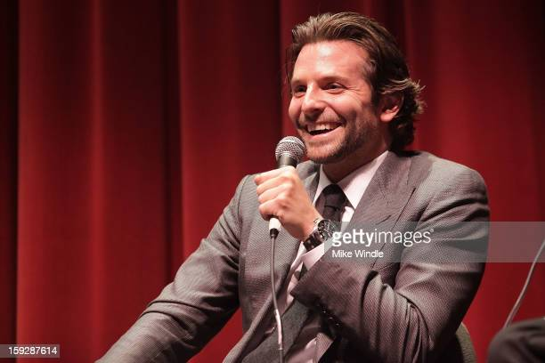 Bradley Cooper speaks on stage during SAG screening for 'Silver Linings Playbook' presented by Weinstein Company at Wadsworth Theater on January 10...