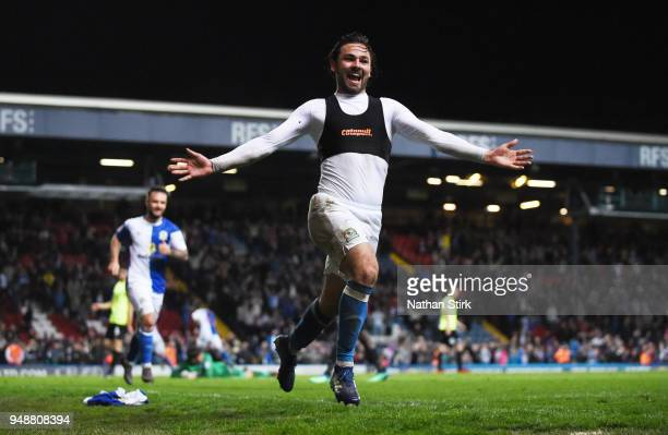 Bradley Dack of Blackburn Rovers celebrates after scoring the third goal during the Sky Bet League One match between Blackburn Rovers and...