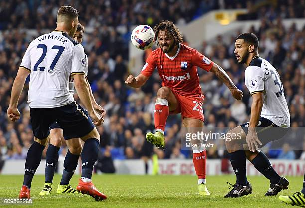Bradley Dack of Gillingham in action during the EFL Cup Third Round match between Tottenham Hotspur and Gillingham at White Hart Lane on September 21...