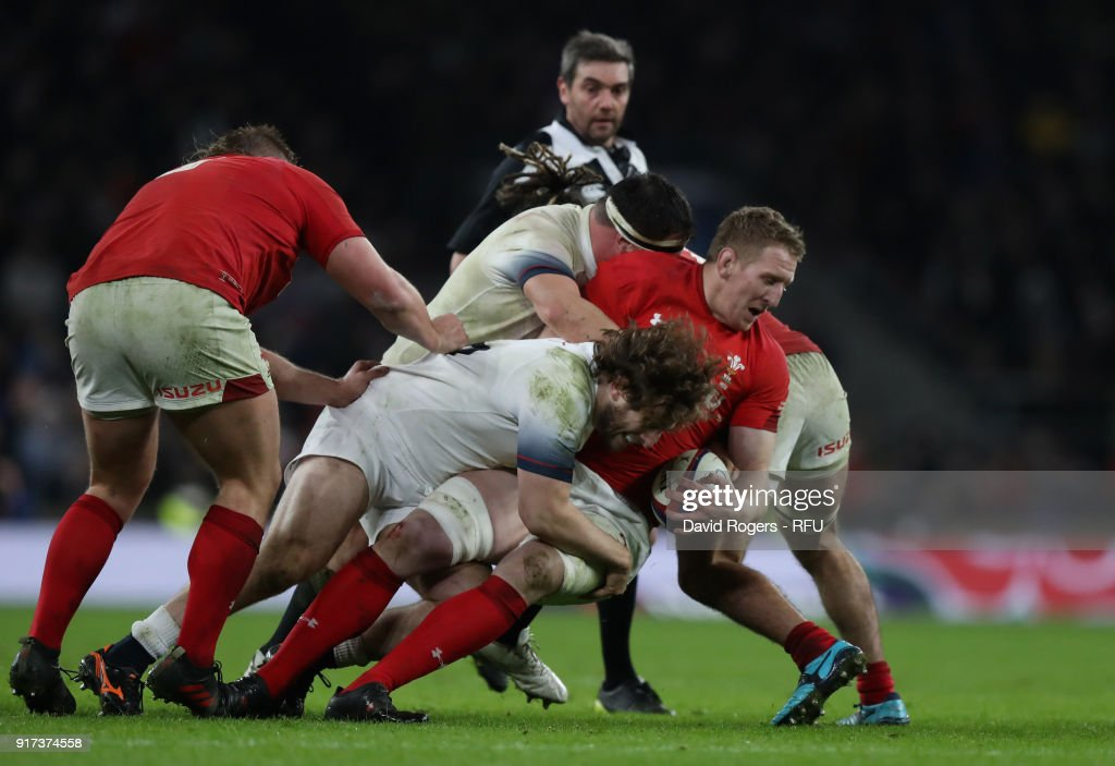 Bradley Davies of Wales is tackled by Alec Hepburn during the NatWest Six Nations match between England and Wales at Twickenham Stadium on February 10, 2018 in London, England.