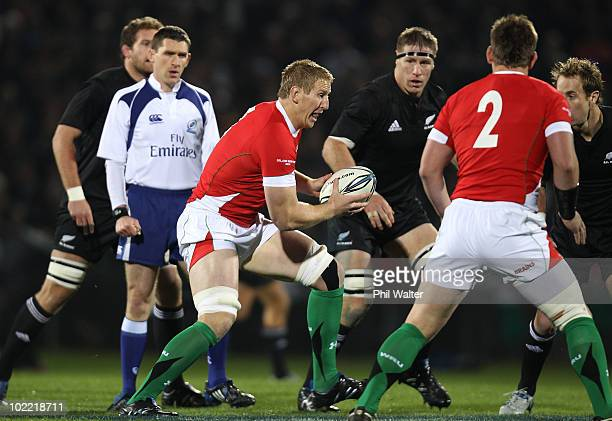 Bradley Davies of Wales takes the ball forward during the First Test match between the New Zealand All Blacks and Wales at Carisbrook on June 19 2010...