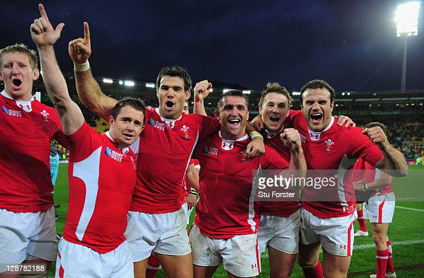 Bradley Davies Shane Williams Mike Phillips Huw Bennet Jonathan Davies and Jamie Roberts celebrate after quarter final one of the 2011 IRB Rugby...