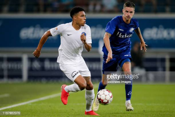 Bradley de Nooijer of FC Viitorul during the UEFA Europa League match between Gent v FC Viitorul Constanta at the Ghelamco Arena on July 25, 2019 in...
