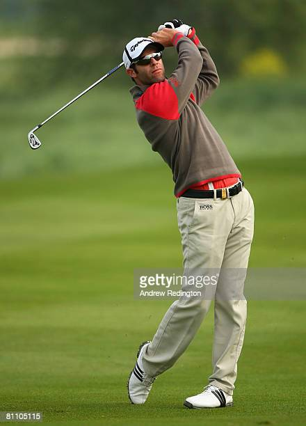 Bradley Dredge of Wales hits his second shot on the tenth hole during the second round of the Irish Open on May 16 2008 at the Adare Manor Hotel and...