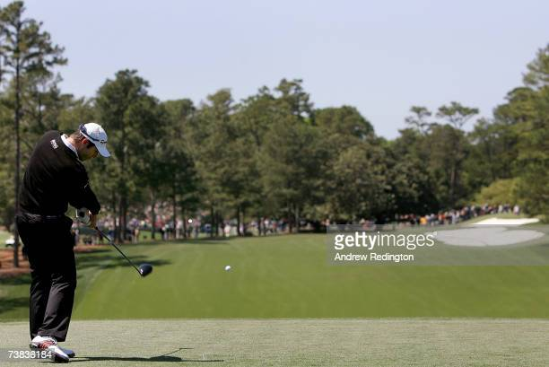 Bradley Dredge of Wales hits his tee shot on the first hole during the third round of The Masters at the Augusta National Golf Club on April 7 2007...