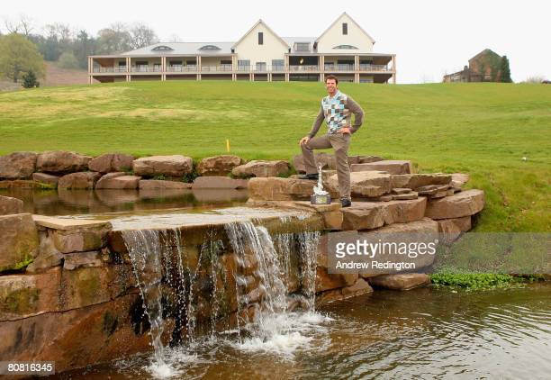 Bradley Dredge of Wales poses on the 18th hole after a press conference to announce that The Celtic Manor Wales Open will be held on the Twenty Ten...