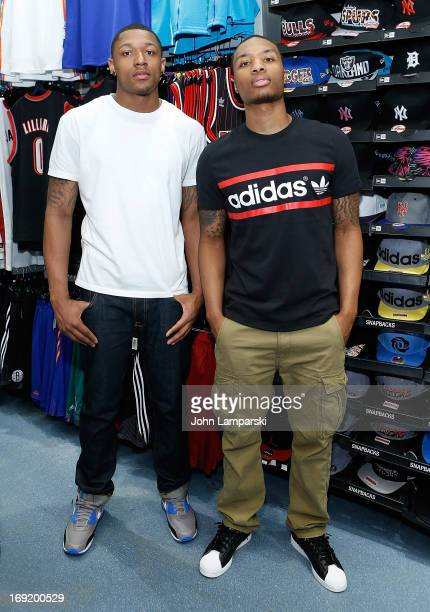 Bradley Emmanuel Beal of the Washington Wizards and Damian Lillard of the Portland Trail Blazers attend a meet and greet at Champs Sports on May 21...